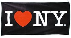 """CitySouvenirs.com - I Love NY Beach Towel - Black, $17.99 (http://www.citysouvenirs.com/i-love-ny-beach-towel-black/) Black I Love NY Towel  After taking a shower or a dip at your favorite beach or pool, dry yourself in style while declaring """"I Love NY!"""" Soft to the touch and finely woven, they are luxurious enough to use for both children and adults.    Measures 5' x 28½"""" and made of 100% cotton   Support New York City - All of our I Love NY products are fully licensed."""