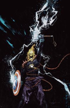 """comicstallion: """"""""""""I took Cap to meet Thor and Iron Man, and he's been an Avenger ever since."""" – Frank Castle """" Cover art for Cosmic Ghost Rider Destroys Marvel History Art by Gerardo Zaffino """" Marvel Art, Marvel Heroes, Comic Books Art, Comic Art, Spirit Of Vengeance, Arte Nerd, Ghost Rider Marvel, Marvel Characters, Marvel Movies"""