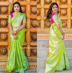 Vithika Sheru's Festive Look! Pattu Sarees Wedding, Designer Sarees Wedding, Wedding Saree Blouse Designs, Saree Blouse Neck Designs, Fancy Blouse Designs, Lehanga Saree, Uppada Pattu Sarees, Bridal Sarees, Party Wear Maxi Dresses