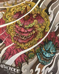 Foo dog holding head demons Tiger Tattoo Sleeve, Demon Tattoo, Sleeve Tattoos, Foo Dog Tattoo Design, Japanese Tatto, Vietnam Tattoo, Fu Dog, Asian Tattoos, Japan Tattoo