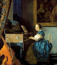 Una dama tocando un clavicordio, Gerrit Dou