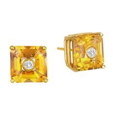 "Madyha Farooqui """"Nolita"""" Citrine Stud Earrings ($1,900) ❤ liked on Polyvore featuring jewelry, earrings, bezel set earrings, citrine earrings, studded jewelry, citrine jewelry and stud earrings"