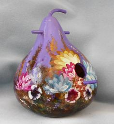 Hand Painted Lavender Bouquet Bird House Gourd by HouseOfGourds on Etsy
