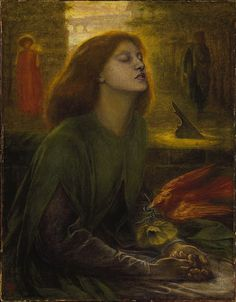 Rossetti was influenced by Dante's Beatrice and Poe's The Raven when he wroteThe Blessed Damozel.  This idea of love after death would take on a deeper meaning after the untimely passing of Elizabeth Siddal from a Laudanum overdose.  His identifying with Dante had reached a frightening new level.  With his wife no longer a living muse she becomes an even more Beatrice-like figure, unreachable in the after-life.   In his posthumous tribute to her, he painted her as Beatrice on the brink of…