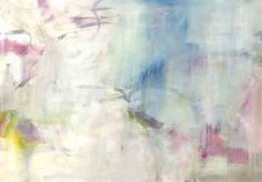 Abstract painting in nuetral tones with pops of pink, blue, and yellow. This piece has a mate, Translucid Movement II.