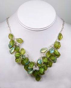 Green Beaded Necklace Bib Necklace Bridal by CherylParrottJewelry, $134.95