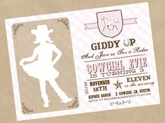 Cowgirl Birthday Invitation Printable, via Paiges of Style on Etsy...the silhouette cowgirl is darling!