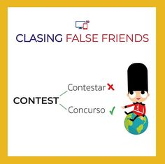 False Friends by CLASINGELTS.com False Friends, English Tips, Learning English, Ielts, English Vocabulary, Grammar, Spanish, Teaching, Kids
