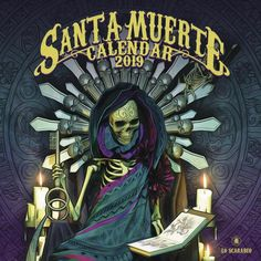 2019 Santa Muerte Calendar by Lo Scarabeo Online Calendar, 2019 Calendar, Day Of The Dead Skull, Spiritual Practices, Patron Saints, Tarot Decks, Occult, Mystic, Spirituality