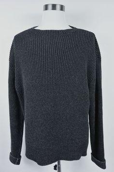 Ralph Lauren RRL Double RL Charcoal Gray XL Cotton Sweater Mens Heavy #P16RA #RalphLauren #Crewneck