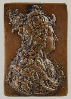 Designed in 1672, this bronze relief shows Louis XIV wearing a fanciful helmet crowned with the chariot of Apollo, the sun god to whom the king likened himself