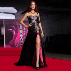 A-line Sweetheart Embroidery High Split Black Evening Dress