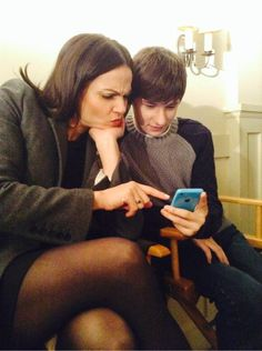 """Lana Parrilla: """"Me and Jared Gilmore playing QuizUp the #OnceUponATime Quiz!! Not as easy as we thought! #Perplexed Yikes!"""""""