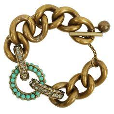 Mint and brass bracelet