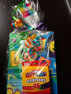 Rainbow Party Favor/goodie bag: Box of Crayons, Mickey Mouse coloring book, stickers, lollipop and rainbow ribbon Mickey Mouse Favors, Mickey Mouse Theme Party, Fiesta Mickey Mouse, Mickey Mouse Clubhouse Birthday Party, Mickey Mouse Birthday, Birthday Favors, First Birthday Parties, 4th Birthday, Birthday Ideas