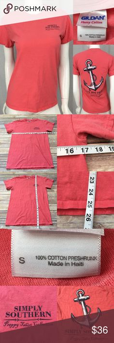 Sz Small Simply Southern Anchor T-Shirt Salmon Top • Measurements are in photos  • Material tag is in photos • Normal wash wear, no flaws  • Short Sleeve  • Salmon Color  • Preppy T-Shirt Collection  D3/66  Thank you for shopping my closet! Simply Southern Tops Tees - Short Sleeve