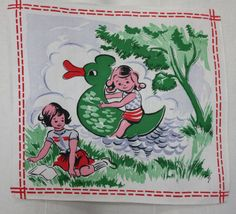 1940s - 1950s Vintage handkerchief with 2 little girls playing by a river, one on a duck the other reading. European childrens hankie. Colors of red