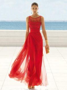 Marfil (Rosa Clará). Ref. 8J287. Rojo. Vestido largo fiesta