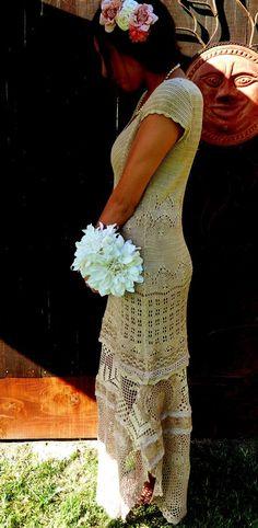 bohemian crochet wedding dress | ... , OOAK Design, Bohemian Bride, Romantic Bride, Crochet Wedding Dress