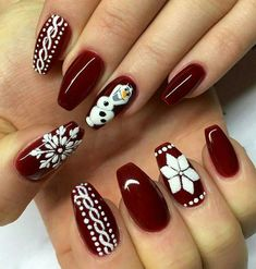 27 Festive and easy Christmas nail art designs you must see and try this holiday season.Capture the holiday spirit with these Christmas nail art ideas. Nail Art Noel, Red Nail Art, Red Stiletto Nails, Red Nails, Coffin Nails, Acrylic Nails, Christmas Nail Art Designs, Christmas Design, Christmas Christmas