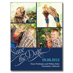 Chic Calligraphy Save The Date Postcard - Navy