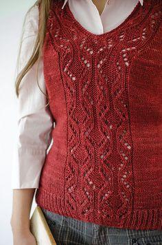 Locus Vest pattern by Katya Frankel using Malabrigo Silky Merino. Click through to purchase this pattern from Ravelry Knit Vest Pattern, Knit Patterns, Classic Elite Yarns, Christmas Knitting Patterns, Dress Gloves, Arm Knitting, Yarn Brands, Look Fashion, Knit Crochet