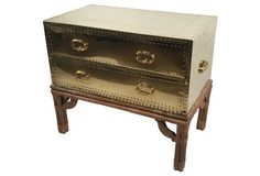 Sarreid-Style Chest on Bamboo Stand
