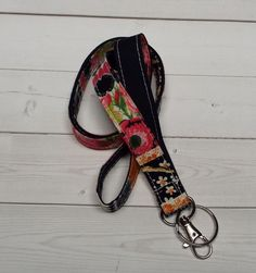 Lanyard Id Holder Key Leash badge holder - floral roses stripes #Handmade  preppy / fabric / cute / patterns / key chain / office, nurse, student id, badge / key leash / gifts / key ring / design your own / add a colorful tassel