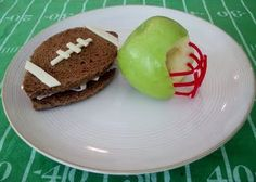 football shaped sandwiches and apple helmets