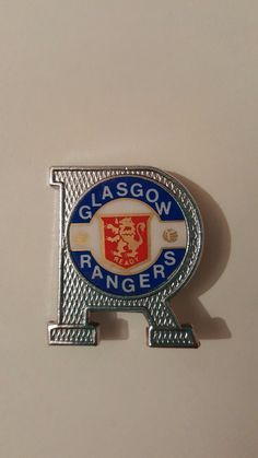 Glasgow Rangers Insert Style badge - Letter R Rangers Football, Rangers Fc, Pin Badges, Glasgow, Flags, Euro, Terrace, Lettering, Club