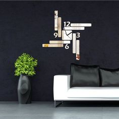 Acrílico espejo de pared rectangular ¡ reloj de decoración de la oficina sala de la casa 3d bricolaje