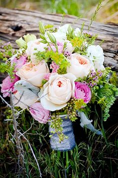 gorgeous pink, peach and green rustic elegant rose bouquet