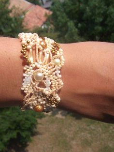 Seed bead bracelet Beadwork bracelet Freeform peyote