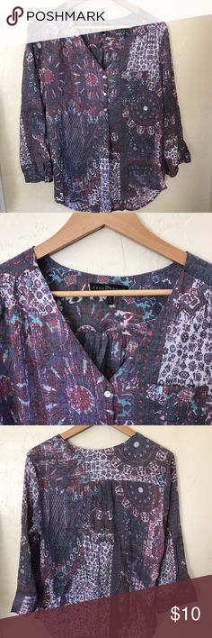 Beautiful Purple Boho Top! Half-button, lightweight, slightly shimmery loose top. 3/4 length sleeves. Easy to wear. Perfect for work in the summer. Fred David Tops Blouses