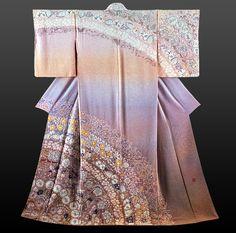 Elegant flower pattern Tsujigahana kimono by Itchiku Kubota