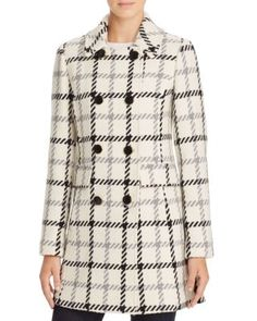 kate spade new york Plaid Double-Breasted Button Front Coat | Bloomingdale's