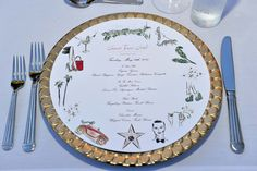 The menu's for the Charlotte Olympia Dellal and Liz Goldwyn dinner featured illustrations by Clym Charlotte Olympia, Girls Night, Tablescapes, Decorative Plates, Menu, Entertaining, Dinner, Tableware, Design