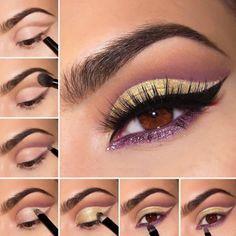 Comienza por trazar la forma del cat-eye con un delineador café y termina con un delineador morado en la parte inferior del ojo.