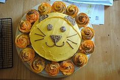 Lion cake and cupcakes