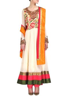 Ivory Drop waisted queensberry Anarkali with Dupatta & Churidar