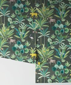 Wallpaper-Linz-Animal-Kingdom-Charcoal-2 Animal Wallpaper, New Wallpaper, Wallpaper Roll, Wallpaper Ideas, Modern Wallpaper Designs, Designer Wallpaper, Candy Stripe Wallpaper, Animal Kingdom, Tropical Wallpaper