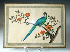 19thC Chinese Pith Paper Painting: Parrot