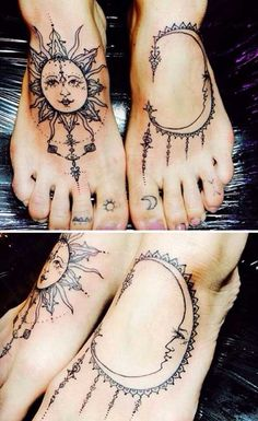 Sun and Moon Tattoos for Foot