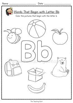 Letter Flashcards, Letter Worksheets For Preschool, Alphabet Tracing Worksheets, Free Preschool, Kindergarten Worksheets, Letter B Crafts, Alphabet Crafts, Letter B Song, Beginning Sounds Worksheets