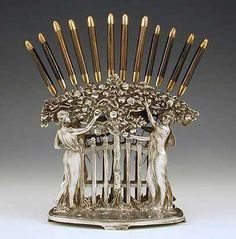 WMF Silver Plate On Pewter Art Nouveau Knife Holder With Maidens, Together With The Original Set Of 12 Bronze And Knives - Germany c.1906