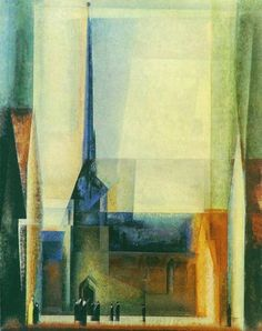 "booksandchurches: "" Lyonel Feininger, Market Church at Halle, 1930. """
