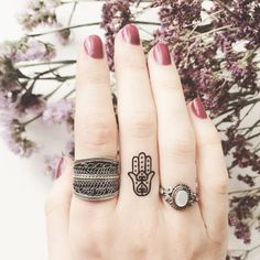 Set of 4 Tiny Fatima Hamsa hand temporary Tattoo by ArrowTattoo