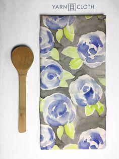 Eco Friendly Original Designed Tea Towel  Blue by yarnandclothco
