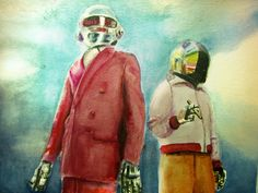 watercolor Daft Punk by Alonso Morales