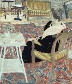 "Edouard Vuillard, ""Madame Arthur Fontaine in a Pink Shawl,"" 1903, gouache and oil on cardboard mounted on cardboard, 19 3/4 x 17 1/4 in, The Art Institute of Chicago"